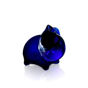 Blue Glass Mini Pig Sculpture