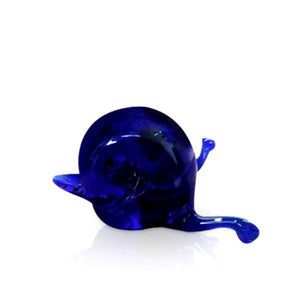 Blue mini glass snail sculpture