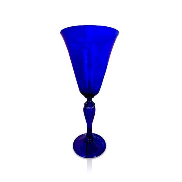 Blue Glass Optic Stem Goblet