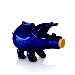 Blue glass piggy bank