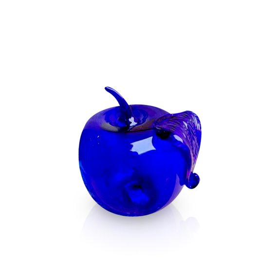 Blue Glass Apple Sculpture