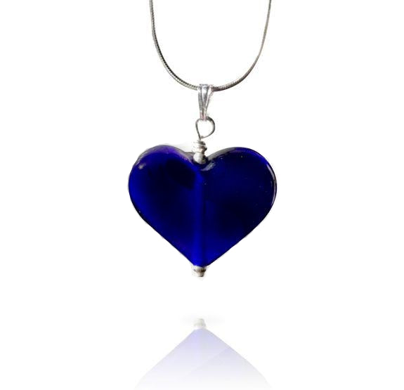 Blue Glass Heart Pendant Necklace