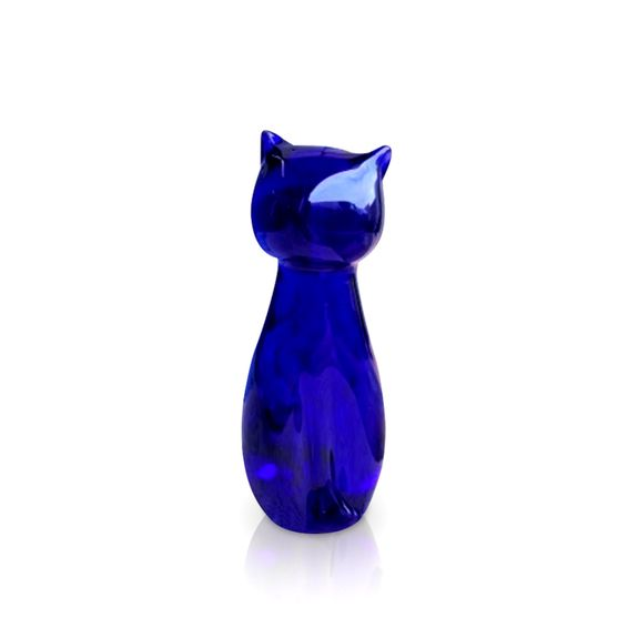 Blue Glass Mini Cat Sculpture