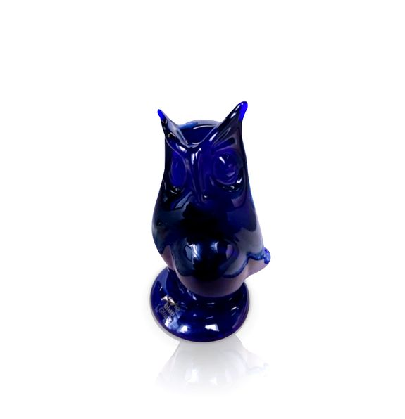 Blue Glass Owl Sculpture