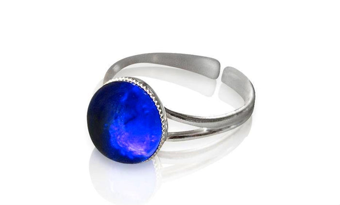 Large Blue Glass Sterling Silver Ring