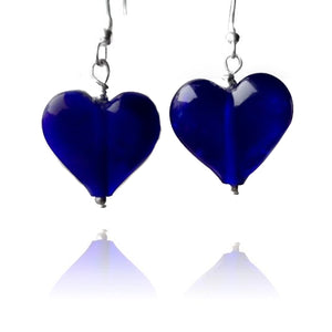 Blue Glass Heart Earrings Large
