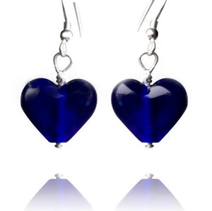 Blue Glass Heart Earrings Small