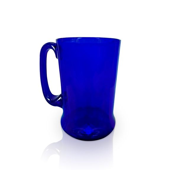 Blue Glass Straight-Sided Tankard