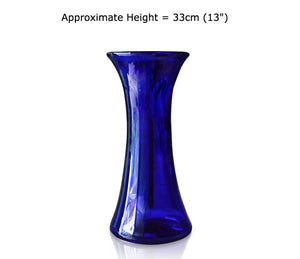 Large Blue Glass Lily Vase