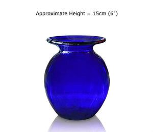 Buy Large Blue Glass Round Vases at BlueGlassWorks