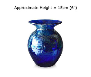 Buy Large Tall Silver Swirl Blue Glass Vases at BlueGlassWorks
