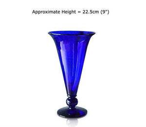 Medium Blue Glass Footed Vase