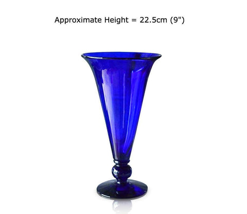 Buy Medium Blue Glass Footed Vases at BlueGlassWorks