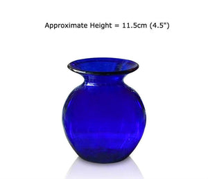Buy Medium Blue Glass Round Vases at BlueGlassWorks