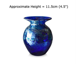 Buy Medium Tall Silver Swirl Blue Glass Vases at BlueGlassWorks