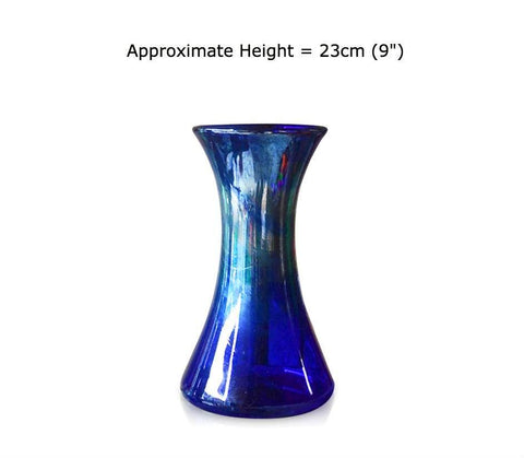 Buy Silver Swirl Blue Glass Lily Vases at BlueGlassWorks