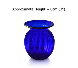 Buy Small Blue Glass Optic Round Vases at BlueGlassWorks