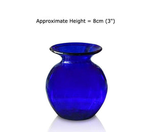 Buy Small Blue Glass Round Vases at BlueGlassWorks