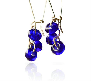Cobalt Blue Glass Long Hook Cluster Bead Earrings