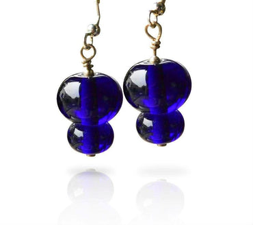 Cobalt Blue Glass Short Hook Two Tier Bead Earrings