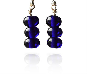 Cobalt Blue Glass Short Hook Three Tier Cluster Bead Earrings