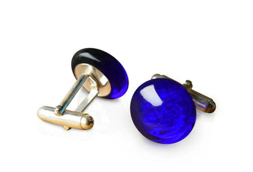 Cobalt Blue Glass Sterling Silver Cufflinks