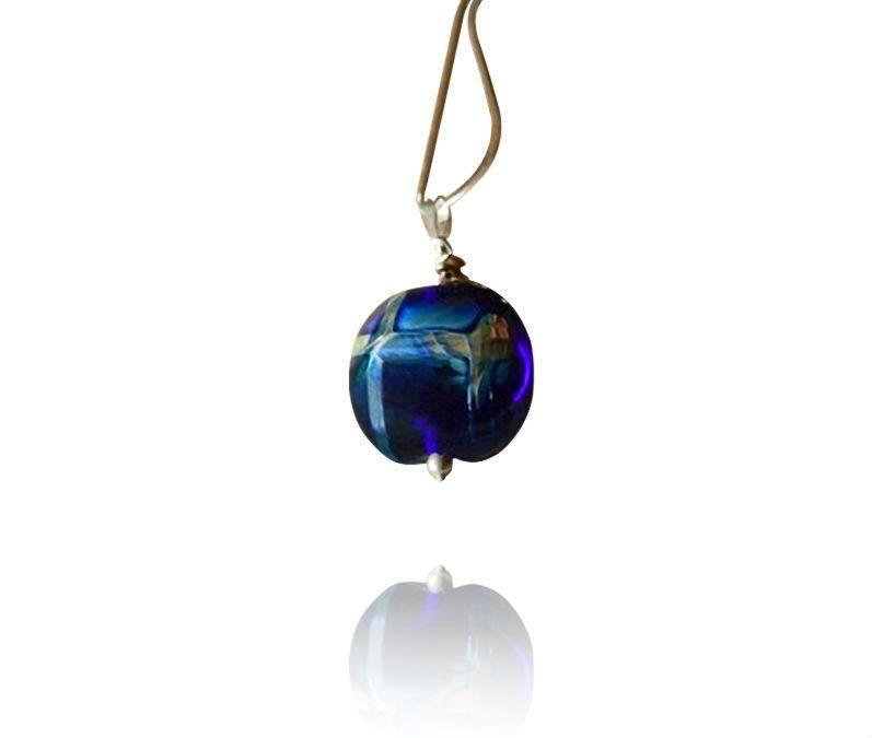 Cobalt Blue and Silver Glass Bead Pendant Necklace