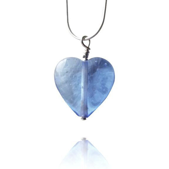 Cornflower Blue Glass Heart Pendant Necklace