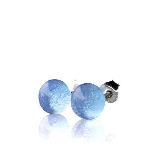 Cornflower Blue Glass Stud Earrings