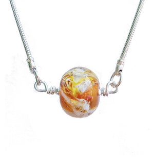 Cremation Memorial Forget-Me-Not Pendant - Amber