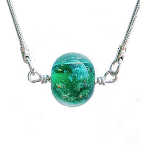 Cremation Memorial Forget-Me-Not Pendant - Emerald Green