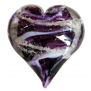 Cremation Memorial Hand Held Heart - Amethyst