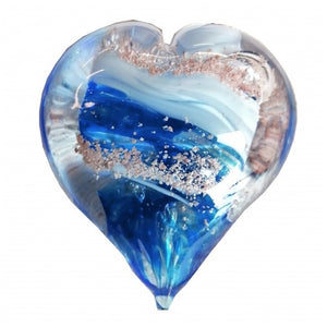 Cremation Memorial Hand Held Heart - Aqua Blue