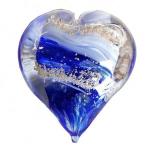 Cremation Memorial Hand Held Heart - Bristol Blue