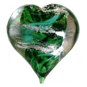 Cremation Memorial Hand Held Heart - Emerald Green