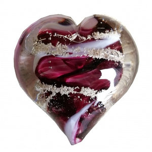 Cremation Memorial Hand Held Heart - Ruby Red