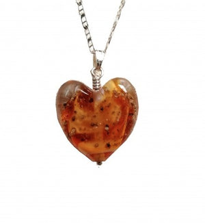 Cremation Memorial Heart Pendant - Amber