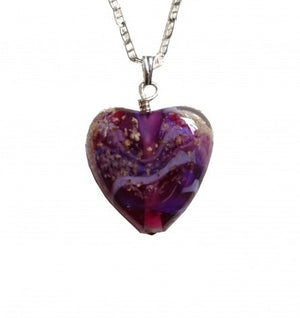 Cremation Memorial Heart Pendant - Amethyst