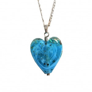 Cremation Memorial Heart Pendant - Aqua Blue