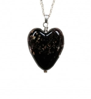 Cremation Memorial Heart Pendant - Black