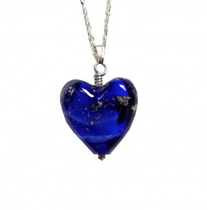 Cremation Memorial Heart Pendant - Bristol Blue