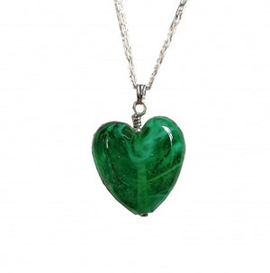 Cremation Memorial Heart Pendant - Emerald Green