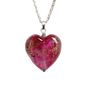 Cremation Memorial Heart Pendant - Ruby Red