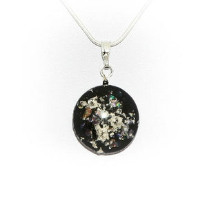 Cremation Memorial Round Pendant - Black