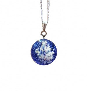 Cremation Memorial Round Pendant - Bristol Blue