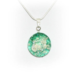 Cremation Memorial Round Pendant - Emerald Green