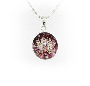 Cremation Memorial Round Pendant - Ruby Red