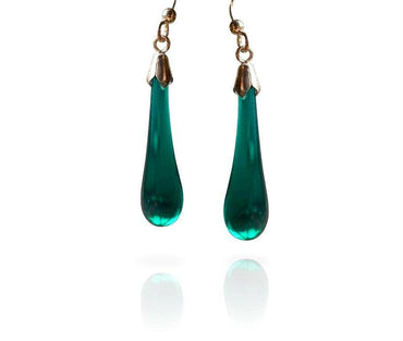 Dark Teal Glass Drop Hook Earrings