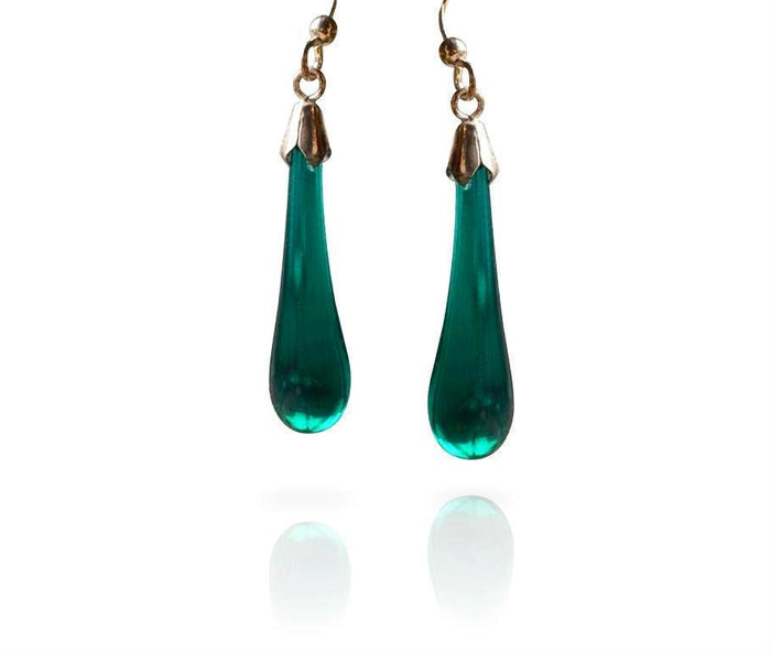 Teal Glass Drop Earrings