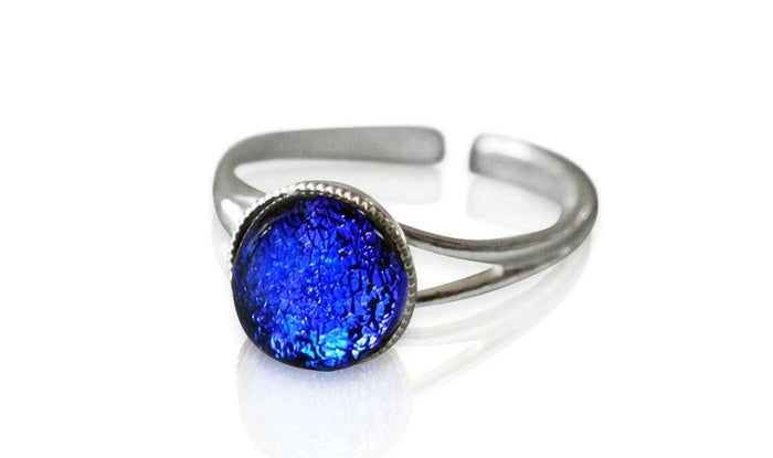 Large Blue Dichroic Glass Sterling Silver Ring